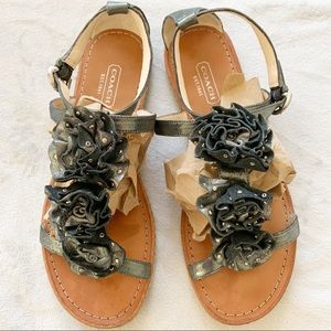 Coach Silver Studded Leather Rosette Sandals